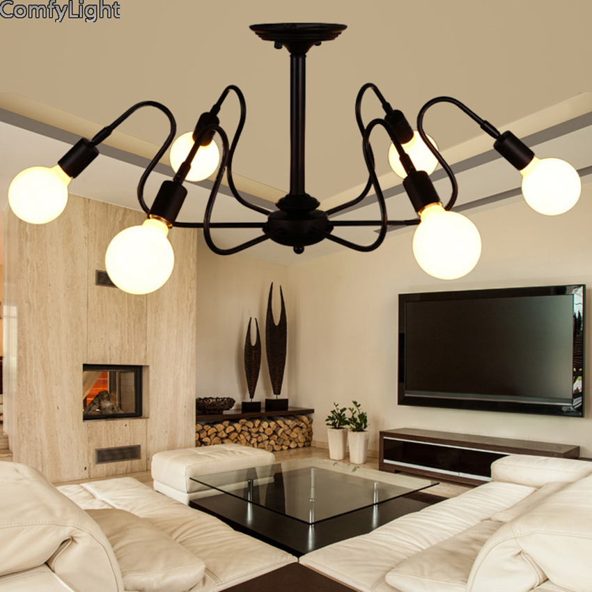 Mordern Nordic Retro LED Chandelier Vintage Loft Antique Art Spider Ceiling Lamp Fixture Light Novelty Lustre Lamparas Colgante mordern nordic retro edison bulb light chandelier vintage loft antique adjustable diy e27 art spider ceiling lamp fixture lights