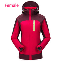 Two sets of waterproof, windproof warm coral wool mountaineering snow clothes for men and women in outdoor stormproof clothes