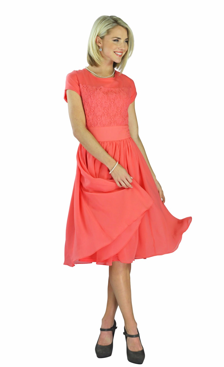 Coral Dresses With Sleeves Photo Album - The Fashions Of Paradise