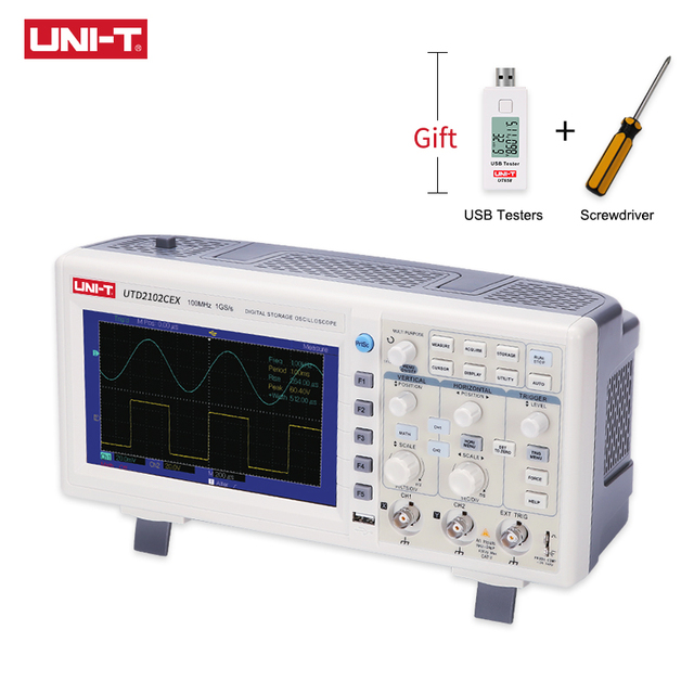 UNI T UTD2102CEX التخزين الرقمي الذبذبات 2CH 100MHZ Scopemeter نطاق متر 7 بوصة عريضة LCD يعرض