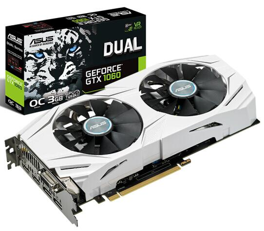 ASUS DUAL-GTX1060-O3G 1569-1809MHz GTX1060 3G DDR5 192bit Game Graphics Used 95%new