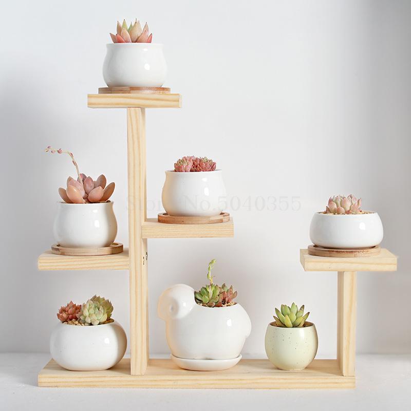 Настольная подставка для цветов из цельного дерева для помещений, многослойная маленькая подставка для цветов, зеленая Цветочная рамка, украшение для гостиной, оконная стойка для горшка - Цвет: VIP 4
