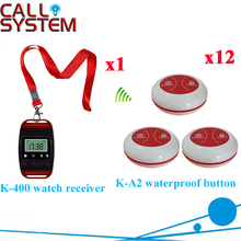 Table Service Bell System Best Discount Price For Restaurant 433.92MHZ Pager With CE Passed(1 watch+12 call button)