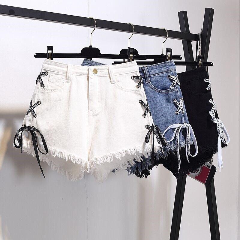 Vintage Tassel Denim Shorts Women 2019 Summer Lace Up Jeans Shorts Plus Size S-6XL Casual Streetwear Short Femme