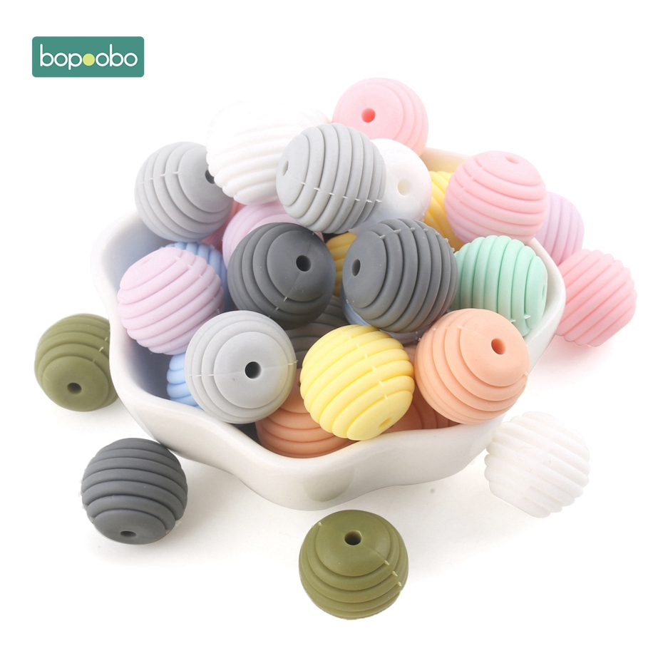 Bopoobo 10pcs Silicone Beads Baby Teething Round Spiral Beads Food Grade Beads 15mm DIY Threaded BPA Free Beads Baby Teethers in Baby Teethers from Mother Kids