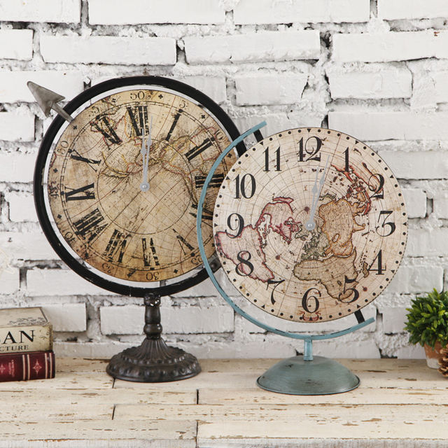 Europe style retro wood desk clock vintage home fashion creative europe style retro wood desk clock vintage home fashion creative desk clock circular world map decoration gumiabroncs Image collections