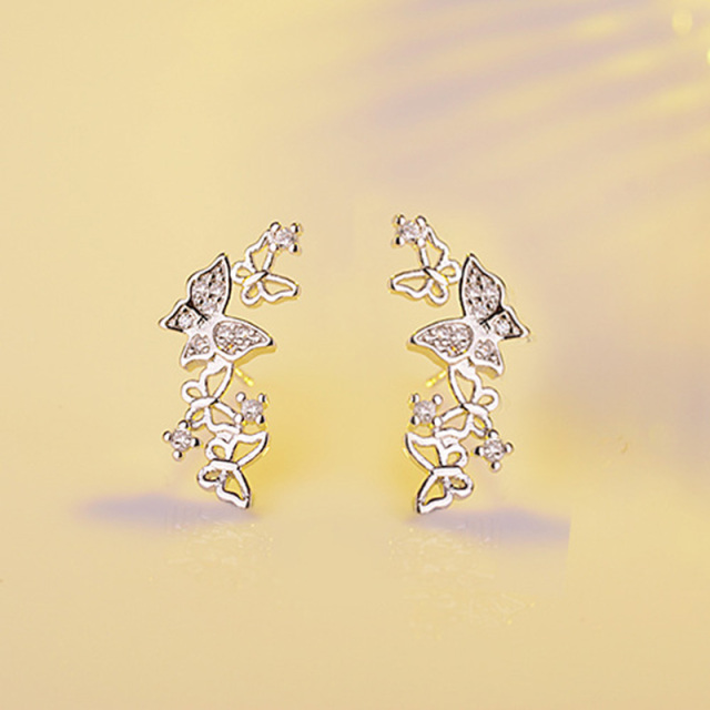 Sparkling Butterfly White Rose Gold Color Earrings