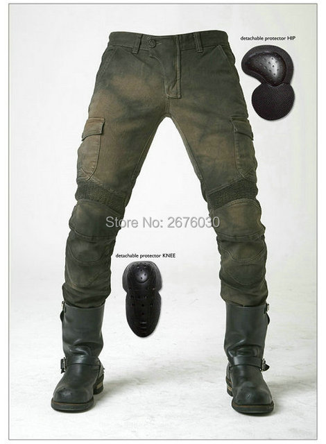 UglyBROS motorpool ubs06 vaqueros pantalones de montar pantalones de protección de la motocicleta de la locomotora de Ocio de la motocicleta verde del ejército