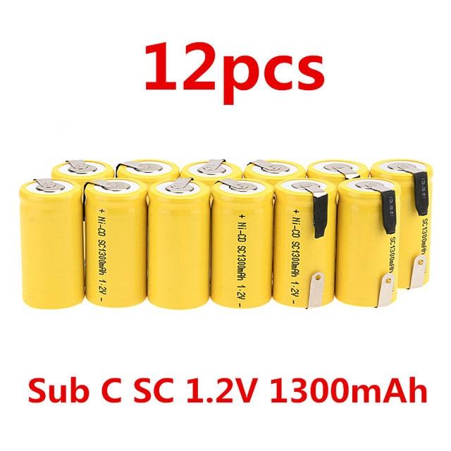 12 шт. Sub C SC 1.2 В 1300 мАч ni-cd NiCd Перезаряжаемые Батарея-желтый
