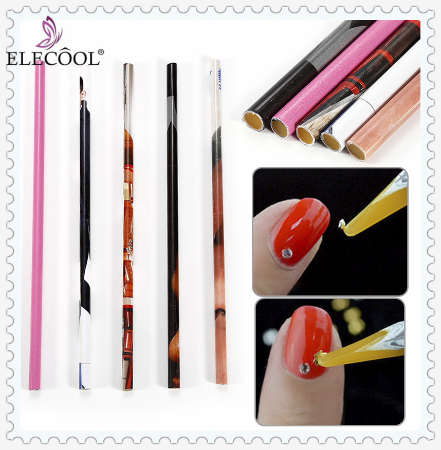 Elecool 2pcs Wax Nail Dotting Pen Rhinestone Gems Crysta Studs Picker Pencil Easily Picking Up Wooden Manicure Art Tool