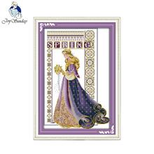 Joy sunday figure style The bride with flowers cross stitch embroidery designs canvas for painting