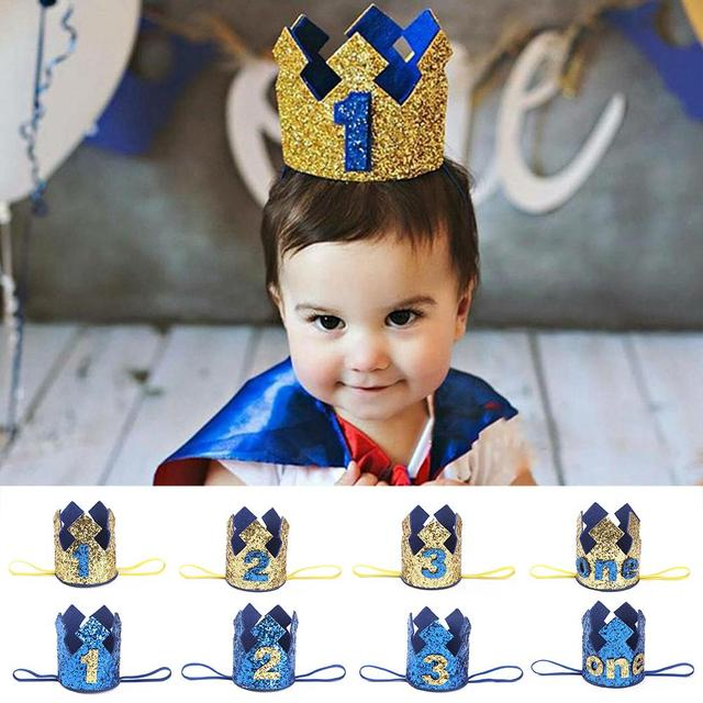 2018 Blue Gold Boy First Birthday Hat Glitter Princess Crown Number 1st 2 3 Year Old