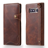 Solque Real Genuine Leather Flip Cover Case For Samsung Galaxy Note 8 Note8 Luxury Vintage Leather