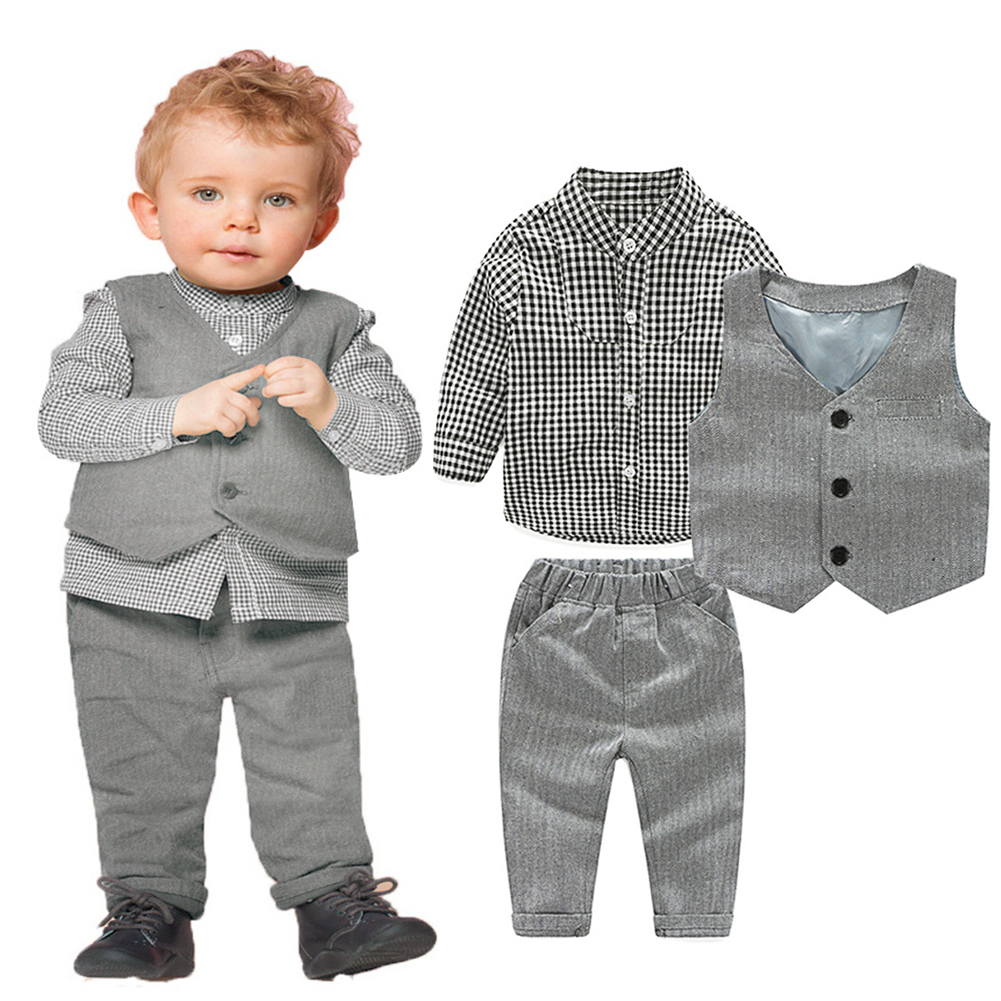 Gentleman Baby Boys Clothes Formal Outfit Clothes Set Long Sleeve Plaid Shirt+Gray Long Pants+Vest Waistcoat Boy Party Clothing blue gentleman boys clothes 3pcs set long sleeve shirt vest pants new style baby boy clothes