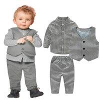 Gentleman Baby Jungen Kleidung Formal Outfit Kleidung Set Long Sleeve Plaid Shirt + Grau Lange Hose + Weste Weste Junge partei Kleidung