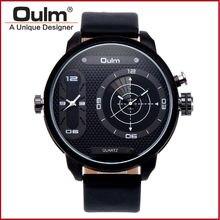 Reloj hombre relojes para hombre correa de cuero dial grande de lujo de 2 zona horaria militar clásico japonés movimiento de cuarzo oulm reloj de la marca
