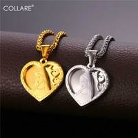 Collare Heart Beauty Pendant Stainless Steel Gold Color Accessories Wholesale Mother Mary Necklace Women Jewelry Love Gift P940