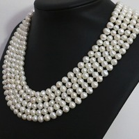 Fashion women natural white pearl round beads 7 8,8 9mm long chain necklace hot sale jewelry 100inch B1463