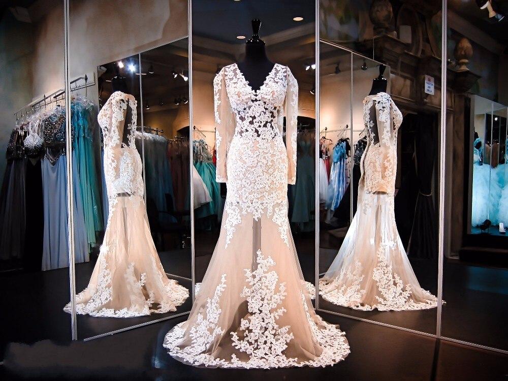 Beige Elegant V Neck Bridesmaid Dress: Elegant Prom Dresses 2016 V Neck Long Sleeves Applique