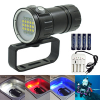 New Underwater Torch LED Diving Flashlight Video Light Powerful Photography Lamp Scuba Photo Flashlights +18650 Battery +Charger