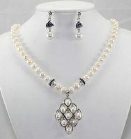 Urocze Piękne White Pearl Fioletowy Kryształ Kolczyki Naszyjnik Zestaw Biżuterii AAA styl