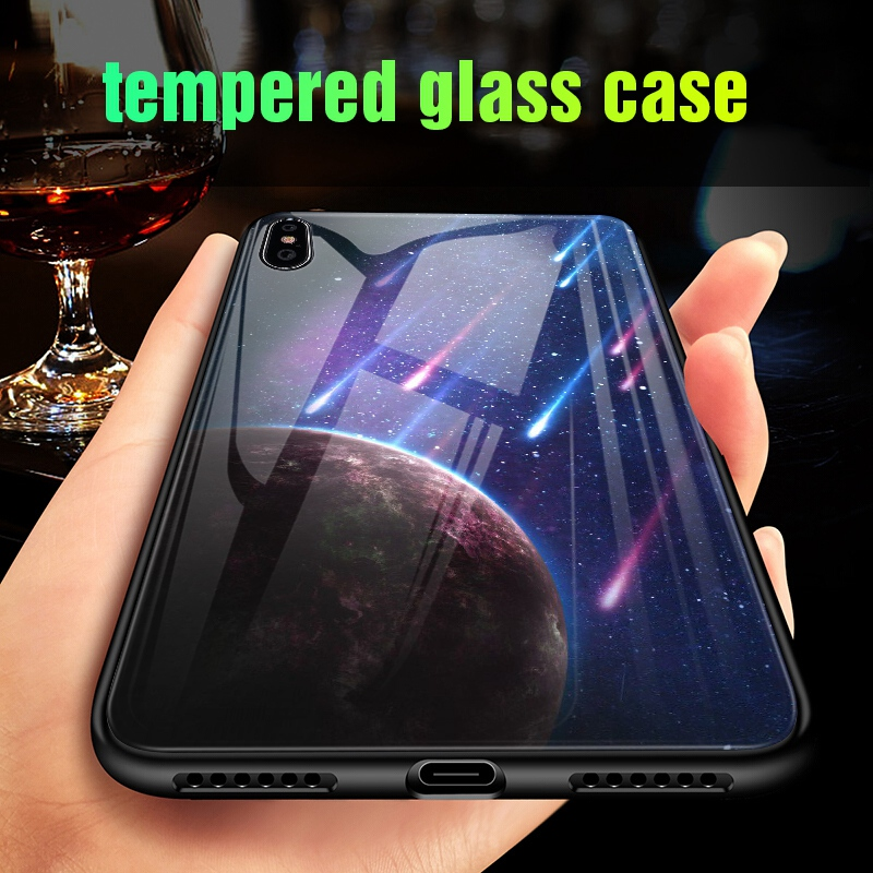 Luminous Case For iPhone X XS MAX Case For iPhone 7 6 s 8 Plus X 10 Luxury PC+Tempered Glass Pattern Silicone Edge Cover (12)