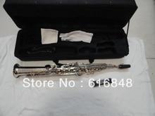 Wholesale one tube Soprano Saxophone Bb High F, G key silver nickel plating surface