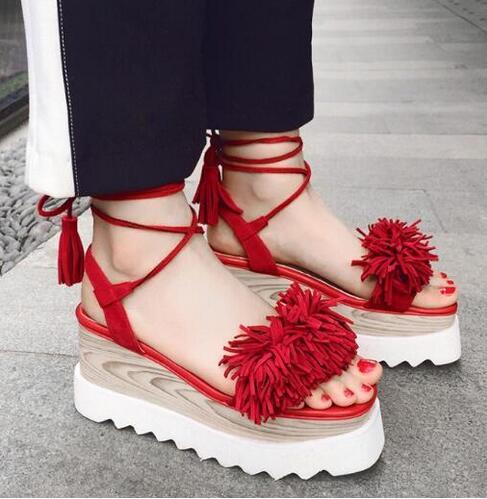 2ba7b483a11 Hot selling red black suede fringed woman sandal open toe lace-up flat  platform sandal big size Rome style gladiator sandal