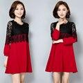 5xl плюс большой размер женщин одежда 2016 весна осень корейский свадебные платья с длинным рукавом красный черный кружева стежка платье женский A1676