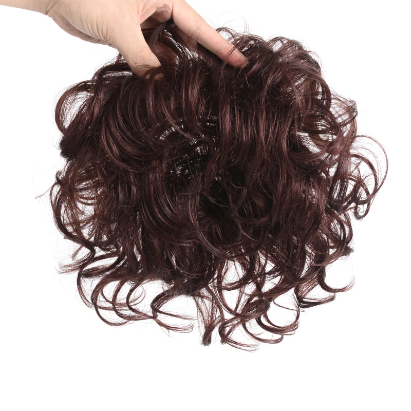 Allaosify Toupee with Bangs Synthetic Curly Hair Hand made Topper Hairpiece Clip In Hair Extensions Clip Ins Hair Topper PureSynthetic Clip-in One Piece   -