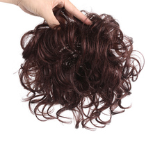 Allaosify Toupee with Bangs Synthetic Curly Hair Hand made Topper Hairpiece Clip In Hair Extensions Clip Ins Hair Topper Pure
