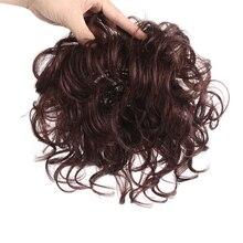 Allaosify, tupé con flequillo, pelo sintético rizado, hecho a mano, Topper postizo de Clip en extensiones de cabello, Clip Ins, adorno de cabello puro
