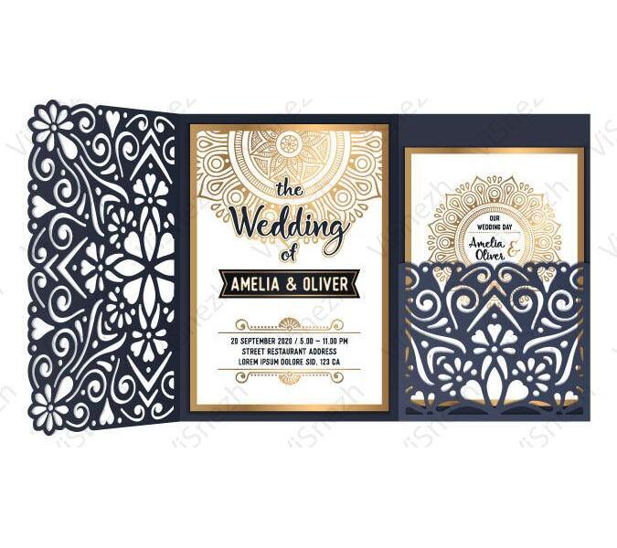 Baby Blue Wedding Invitations: Personalized Floral Gatefold Dark Blue Wedding Invitation, Flower Laser Cut Invitation, Elegant