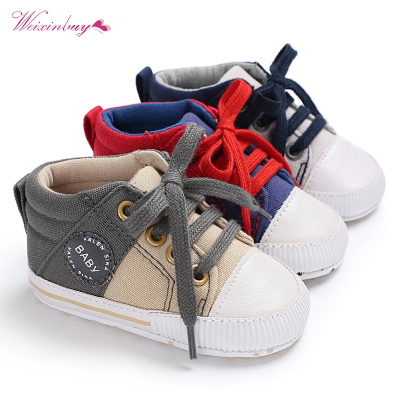 Newborn baby shoes first walkers toddler moccasins Casual boys girls soft sole canvas lace up shoes infant baby gift 0-18M