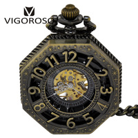VIGOROSO New Steampunk Bronze Black Rose Gold Alloy Mechanical Pocket Watch Fashion Design Skeleton Hand Winding