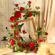 yumai 180cm Roses Flower Vine 18 Heads Rose Long Strings Red Artificial Flowers Wreath Garland for Wedding Decoration