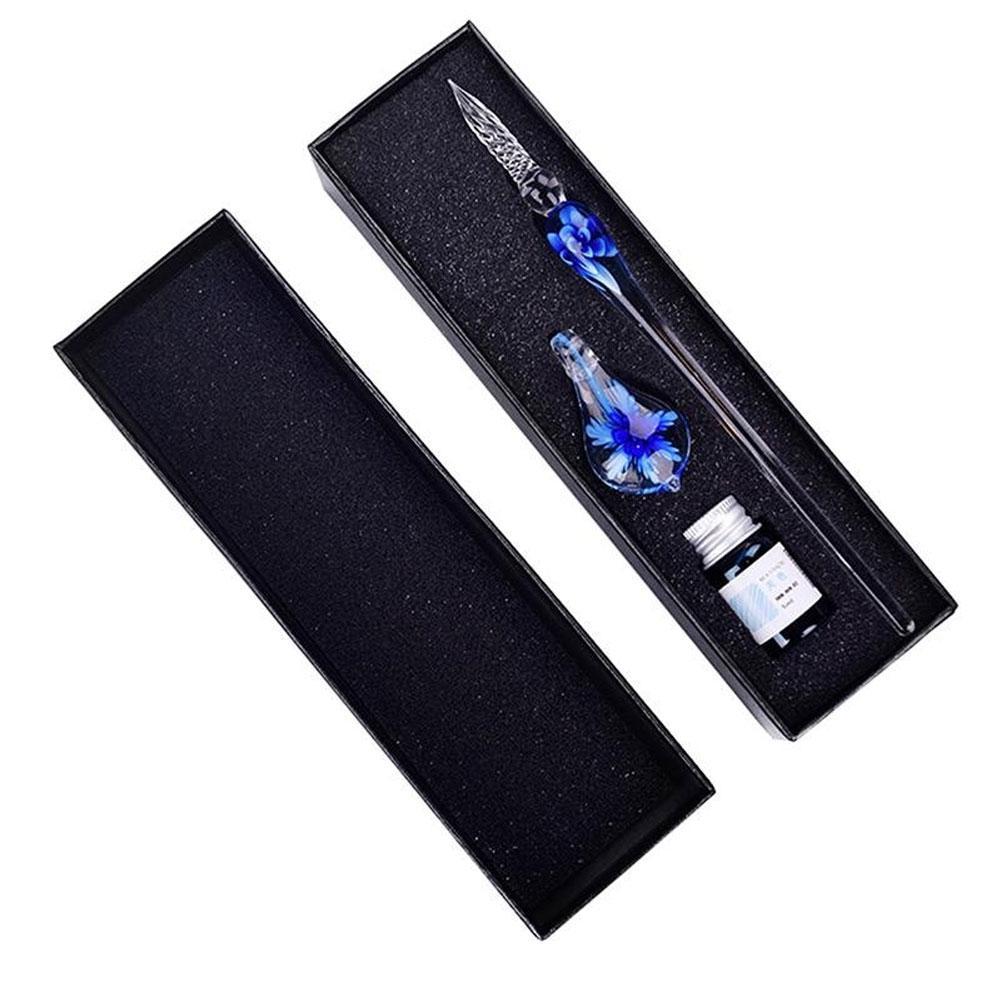 Glass Dip Pen Faux Crystal Ink Signature Inside Flower for Writing Art Decor Gift faux crystal flower hook earrings