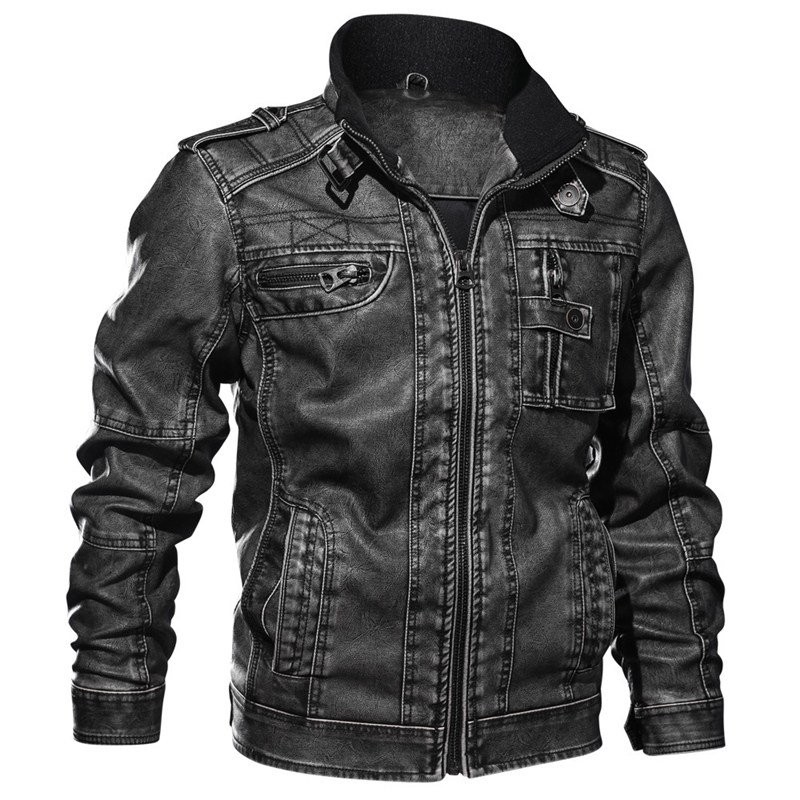 buy real deft design high quality 2018 Winter Pilot Motorcycle Leather Jackets Men Outwear Military Bomber  Thick Warm Tactical Multi-Pocket Leather Jacket Men 5XL