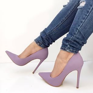 Woman classic red leather high heels sexy nude color light purple ...
