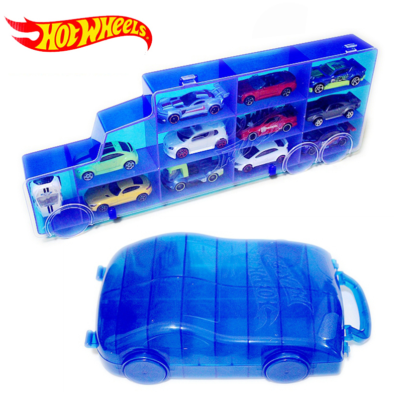 Hot Wheels Portable Plastic Storage Box Hold 16Sports Diecast Models Car Toys For Children Educational Truck Boy Friend Juguetes(China)