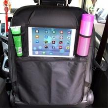 Car Styling Storage Bag Anti-Child-Kick Pad Car Organizer Backseat Bag Drink Holder Tablet Stand iPad Holder Car Seat Organizer