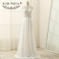 Sleeveless Round Neck Crystal Beaded Chiffon Boho Wedding Dress Keyhole Cut Out Back Beach Wedding Dress