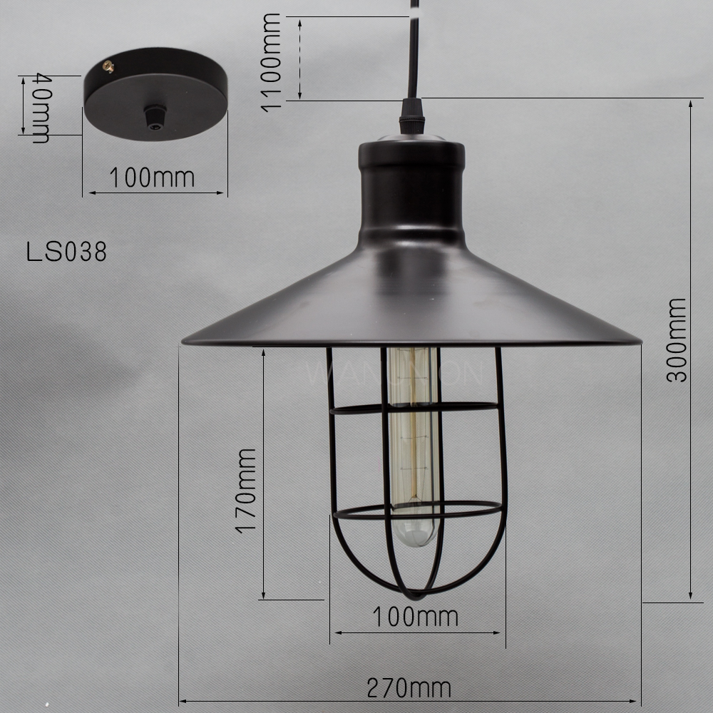 Pendant Vintage Retro Iron Edison Lampshade Ceiling Lamp Guard Wire Cage Bar Cafes Decor Lamp Cover Lamp Base 270x300mm Light