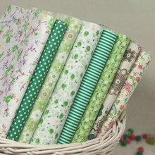 """8 видов конструкций хлопчатобумажная ткань """"зеленый"""" в горошек, в полоску, с цветочным принтом, толстая четверть, комплект тильда, стеганая ткань, для шитья, пэчворк, 50 см x 50 см/шт"""