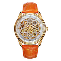 Luxury Romantic Floral Skeleton Watch Automatic Women Watches Real Leather Mechanical Wrist watch Shining Crytals Analog Montre