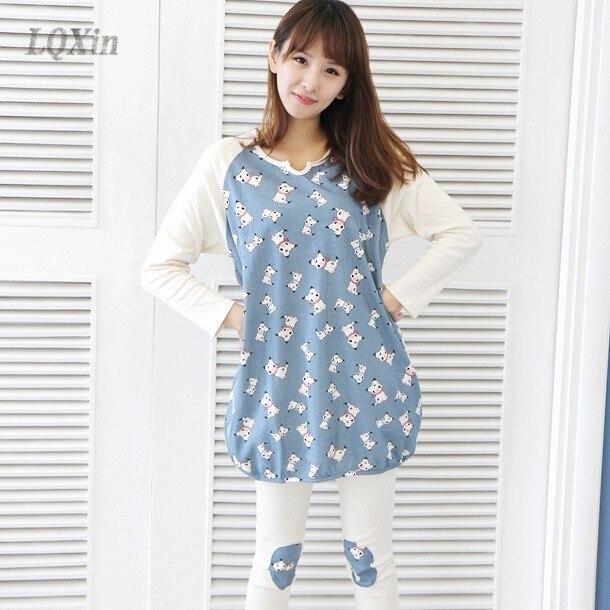 Lqxin Funny Sleep Animal Cat Pajamas Set For Woman Tops -9865