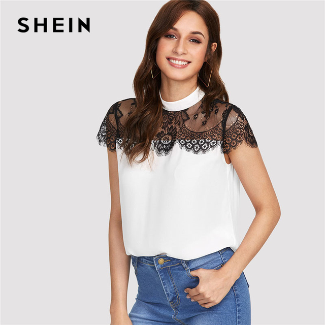 31f6b604ce SHEIN Lace Yoke Keyhole Back Top Women Patchwork Stand Collar Short Sleeve  Button Casual Blouse 2018 Summer Elegant Blouse