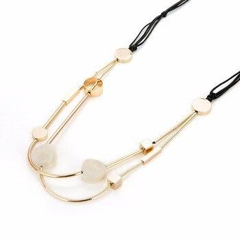 fdee2ad503cb Moda europea joyería acrílico cuentas collar largo negro Cera línea suéter  cadena collares y colgantes para mujeres Kolye