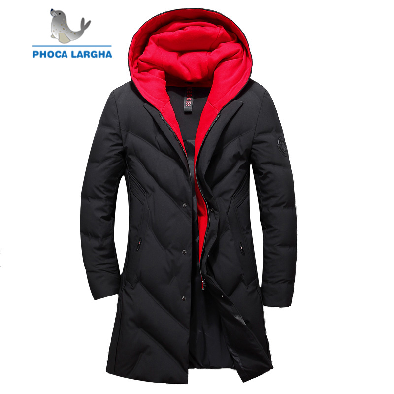 Men's Long Winter   Down   Jackets 2018 New Brand duck   down     coat   Mens Quality Thick Warm Duck   Down   Parkas Hooded Male Overcoats