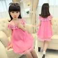 2017 New Summer Costume Girls Princess Dress Children's Evening Clothing Kids Chiffon Lace Dresses Baby Girl Party Pearl Dress